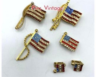 Lot 251 6pc Crystal Rhinestone Flag Pins. Vintage.