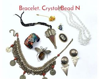 Lot 252 9pc Vintage Jewelry. Brooches. Bracelet. Crystal Bead N