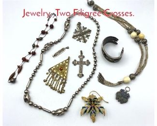 Lot 253 Lot Ethnographic Vintage Jewelry. Two Filigree Crosses.
