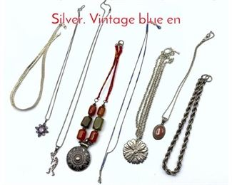 Lot 255 8pc Vintage Jewelry. Sterling  Silver. Vintage blue en