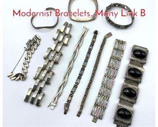 Lot 257 10pc Sterling  Silver Modernist Bracelets. Many Link B