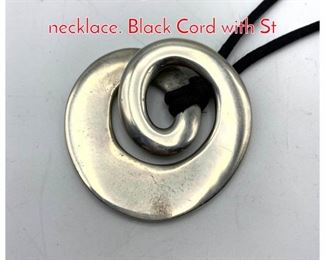 Lot 259 Sterling Modernist Pendant necklace. Black Cord with St