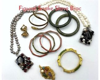 Lot 260 11pc Vintage Costume Jewelry. Figural Snake Slave Brac
