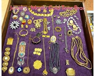 Lot 267 LOT C Large Lot Costume Jewelry . Mostly Gold Tone Brac