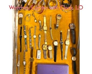 Lot 283 LOT T Large Lot Vintage Watches. Lighter with Clock. LO