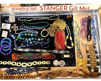 Lot 288 Case Lot Y. Large costume jewelry lot. STANGER Gilt Met
