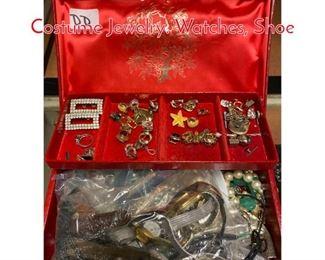 Lot 293 Jewelry Box Lot DD Mixed Costume Jewelry. Watches, Shoe