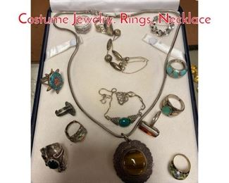 Lot 294 Lot EE 14pcs Sterling Costume Jewelry. Rings, Necklace