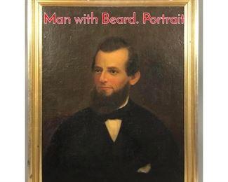 Lot 295 Antique Oil Painting Portrait Man with Beard. Portrait