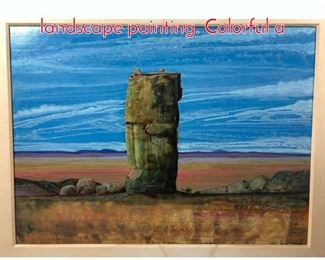 Lot 302 PETER PAONE southwestern landscape painting. Colorful a