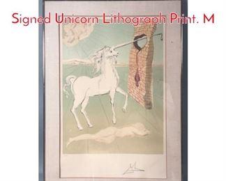 Lot 307 SALVADOR DALI Pencil Signed Unicorn Lithograph Print. M