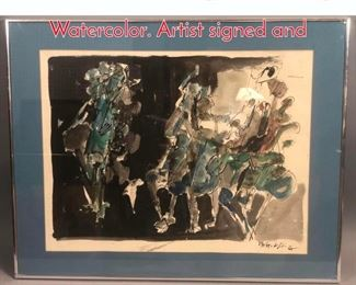 Lot 308 Abstract Figural Drawing Watercolor. Artist signed and