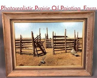 Lot 312 ELLIOTT MEANS Photorealistic Prairie Oil Painting. Farm