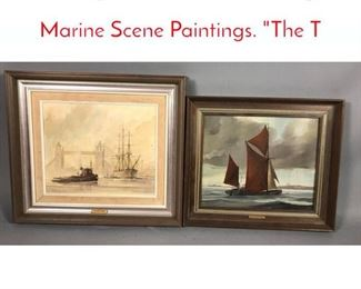 Lot 317 2pc DAVID GRIFFIN Signed Marine Scene Paintings