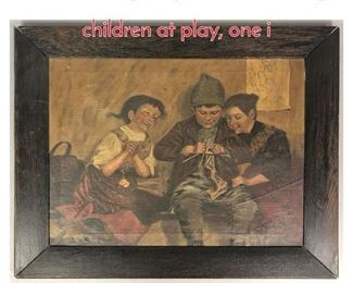 Lot 318 Vintage Figural Oil Painting. 3 children at play, one i