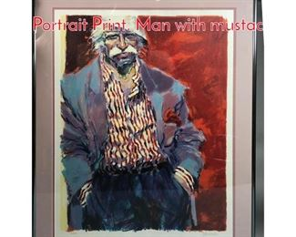 Lot 329 Pencil Signed Modernist Portrait Print. Man with mustac