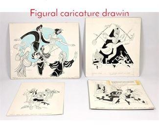 Lot 330 4pc Sam Norkin illustrations. Figural caricature drawin