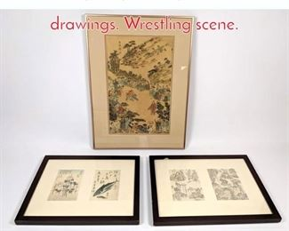 Lot 333 3pc Japanese prints and ink drawings. Wrestling scene.