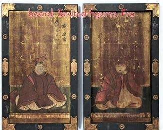 Lot 338 2pc Chinese ink paintings on board. Seated figures. Fra