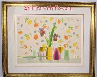 Lot 340 Elizabeth Osborne lithograph. Still life with flowers,