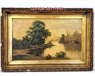 Lot 342 Oil on canvas painting of canoe on river.