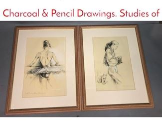 Lot 344 2pc JOHN COOMBS Charcoal  Pencil Drawings. Studies of