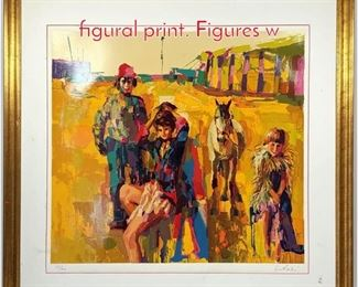 Lot 345 Nicola Simbari signed colorful figural print. Figures w