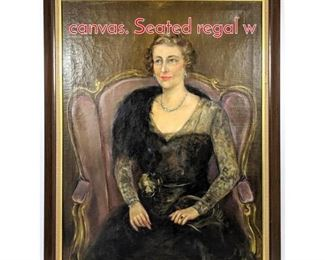 Lot 347 Nickolas Pavloff oil portrait on canvas. Seated regal w