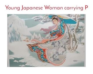 Lot 351 CAROLINE R YOUNG Print. Young Japanese Woman carrying P