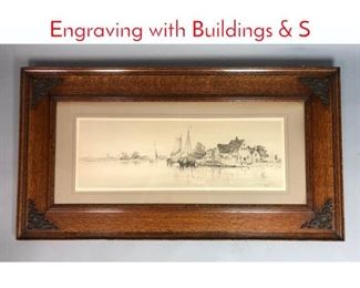 Lot 352 F. Leo Hunter 1889 Coastal Engraving with Buildings  S