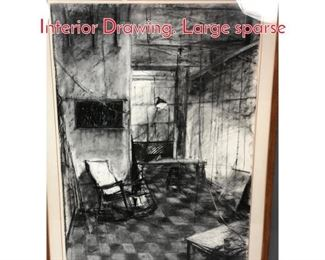 Lot 356 Large Modernist Charcoal Interior Drawing. Large sparse