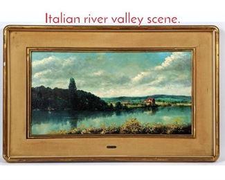 Lot 358 A. Ferretti Oil on canvas. Italian river valley scene.