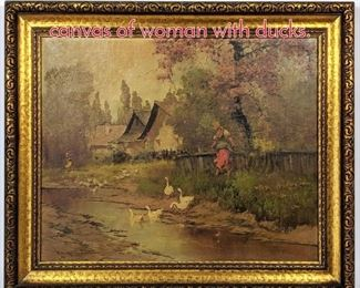 Lot 361 Neogrady Laszlo Painting on canvas of woman with ducks.
