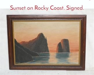 Lot 365 M. AVIGNONE Oil Painting Sunset on Rocky Coast. Signed.