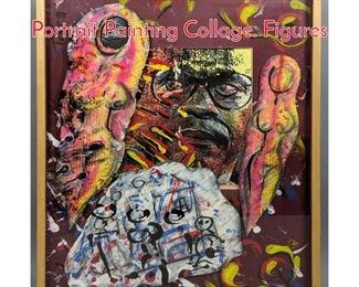 Lot 366 DAN TAG 91 Modernist Portrait Painting Collage. Figures