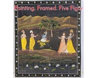 Lot 370 Large Indian Hindu Figural Painting. Framed. Five Figur