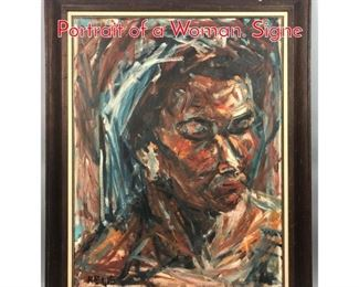 Lot 373 RELIS Abstract Impressionist Portrait of a Woman. Signe