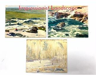 Lot 379 3pc Basil Martin 1903  1988 Impressionist Landscape
