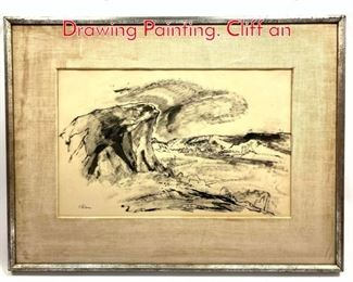 Lot 382 Signed Wilkins Landscape Ink Drawing Painting. Cliff an