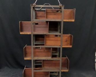 Rolling cart from a cigar factory. These make great display shelving ( 10 removable double sided shelves )