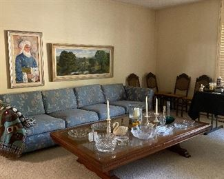 Large quality coffee table. Large sofa