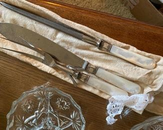 3 piece mother of pearl carving set