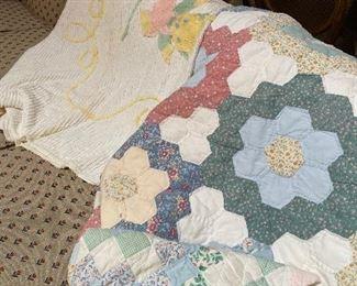 Vintage quilt, vintage chenille baby blanket