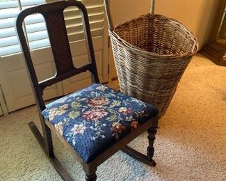 Antique rocker. French style rolling basket