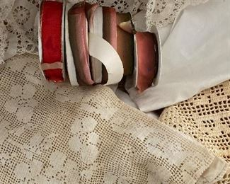 Vintage linens and ribbons