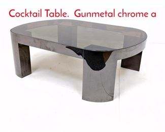 Lot 4 KARL SPRINGER Coffee Cocktail Table. Gunmetal chrome a