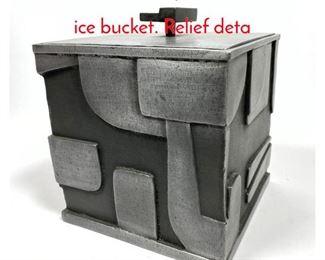 Lot 7 Modernist sculptural metal cube ice bucket. Relief deta