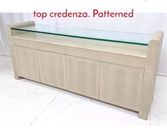 Lot 10 Decorator faux snakeskin glass top credenza. Patterned