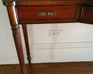 Drawer and leg detail hall table