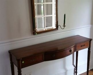 Caledonian vintage hall table 52 x 33. Center 15 deep . Sides 13 deep.  Perfect for entry hall  or any narrow soace.